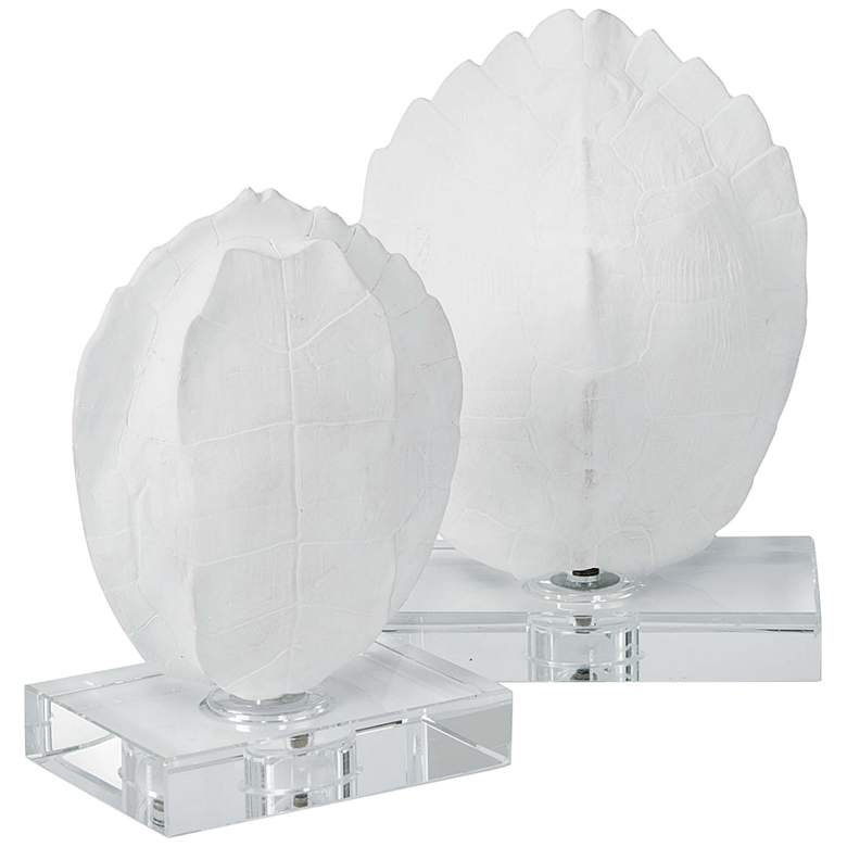 White Modern Turtle Shells On Crystal Sculptures Set of 2