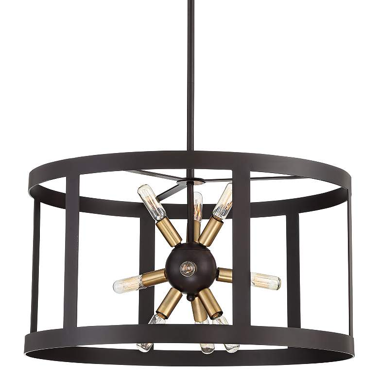 """Fargo 22"""" Wide Forged Iron and Warm Brass 9-Light Pendant"""