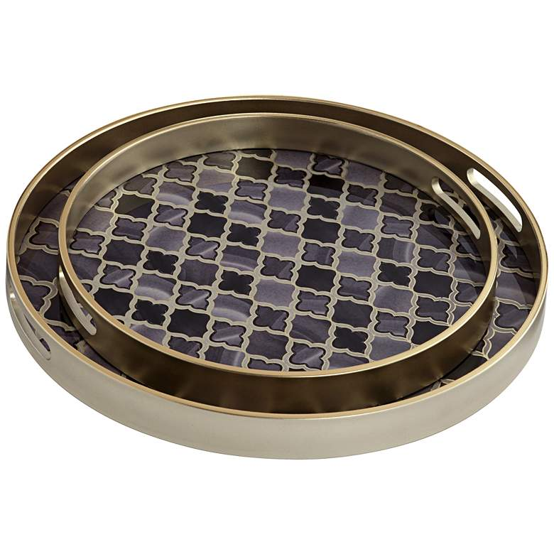 Acton Black and Gray Round Patterned Tray Set of 2