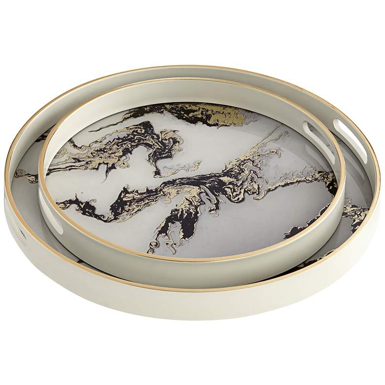 Acton White and Gold Marbled Tray Set of
