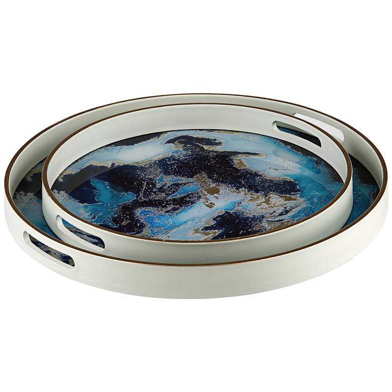 Reo Blue and Gold Round Patterned Tray Set of 2
