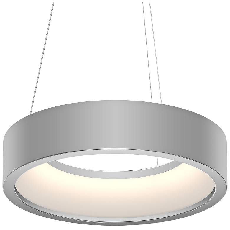 "Tromme™ 18"" Wide Satin Aluminum LED Pendant Light"