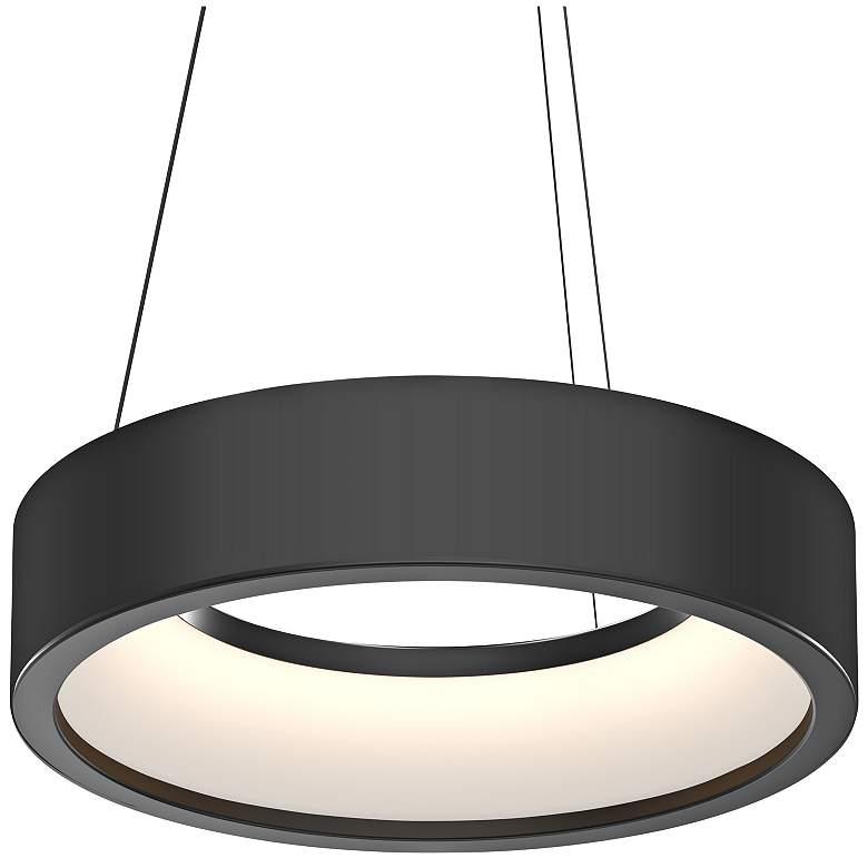 "Tromme™ 18"" Wide Satin Black LED Pendant Light"