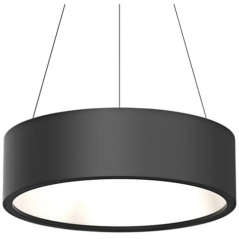 "Sonneman Tromme™ 24"" Wide Satin Black LED Pendant Light"