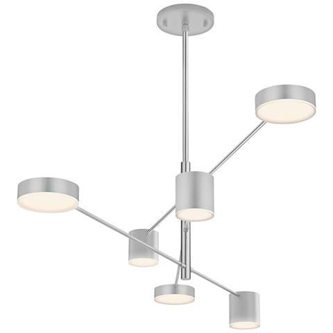 "Counterpoint™ 45""W Bright Satin Aluminum 6-Light LED Pendant"