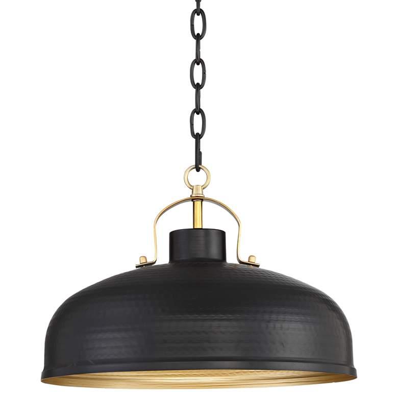 """Possini Euro Camden 15 3/4""""W Black and Warm Brass Pendant"""