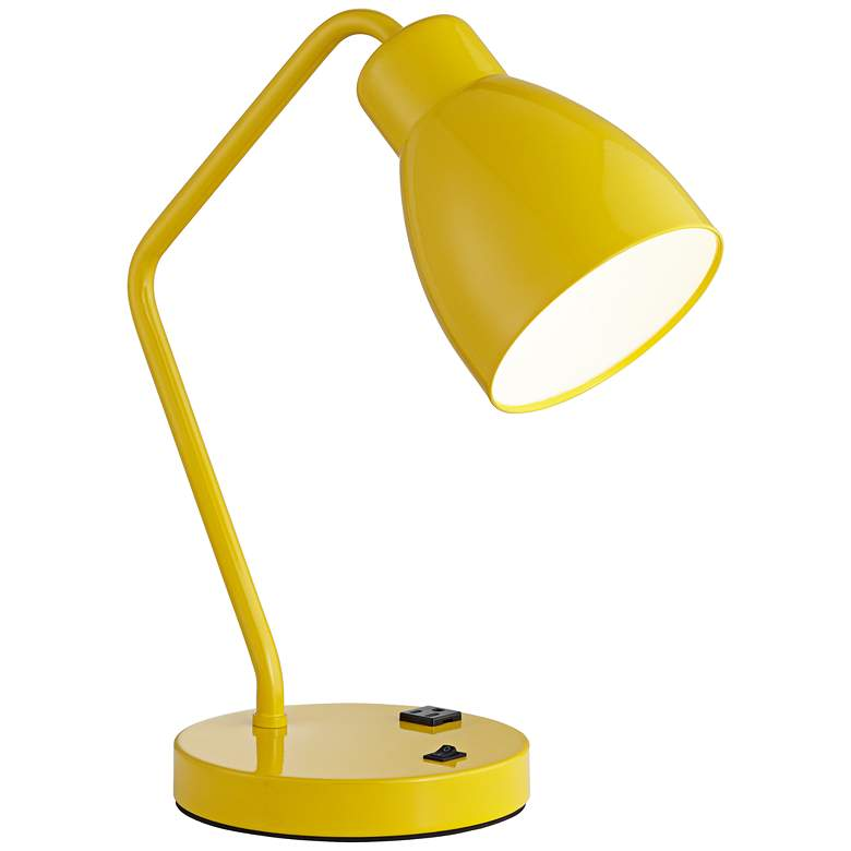 54A40 - Yellow Powder Coated Metal Table Lamp (No Bolt Down)
