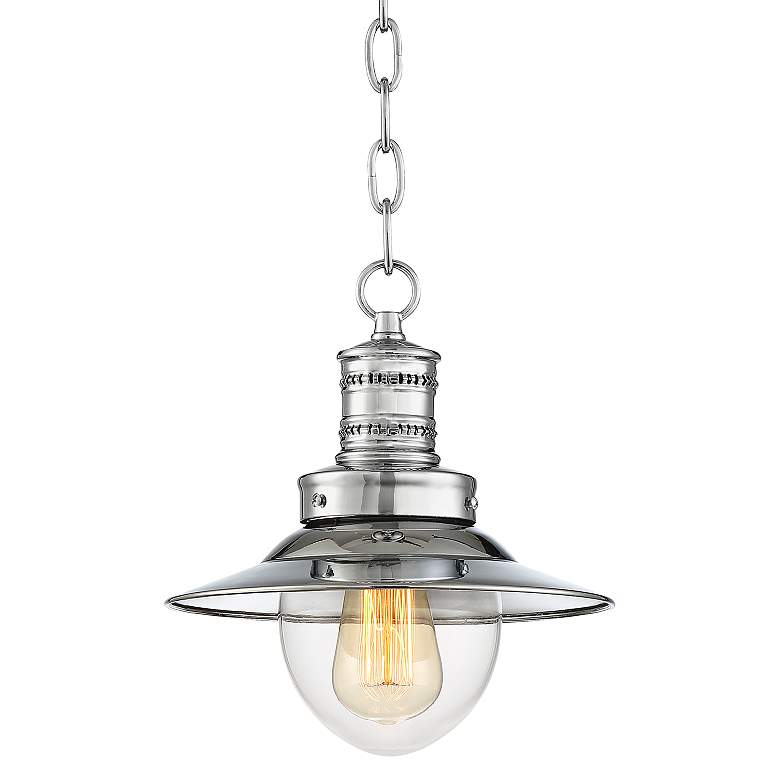 """Starbird 9 1/2"""" Wide Chrome with Clear Glass Mini Pendant"""