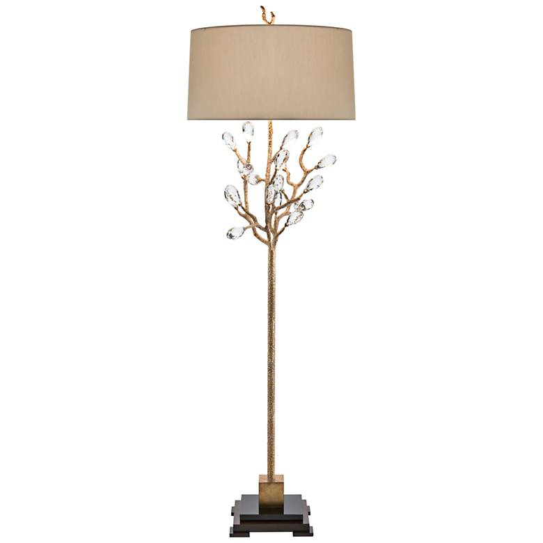 John Richard Antique Gold Budding Crystal Floor Lamp