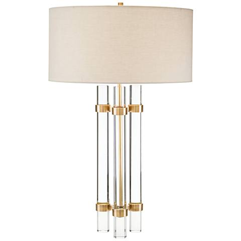 John Richard Glass Spear Brass Table Lamp