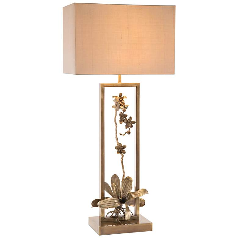 John Richard Blooming Pierced Orchid Bronze Table Lamp