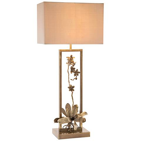 John Richard Blooming Pierced Orchid Bronze Table Lamp