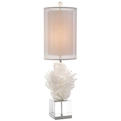John Richard Celene White Selenite Double Shade Table Lamp