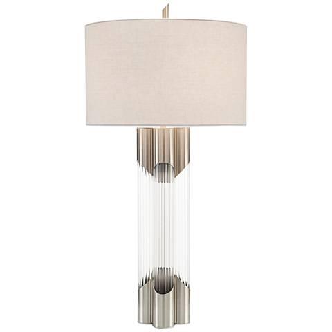 John Richard Polished Nickel and Glass Table Lamp
