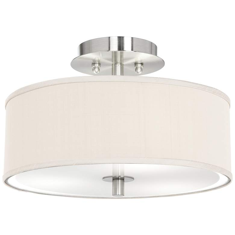 """Cream Textured Polyester 14"""" Wide Ceiling Light"""