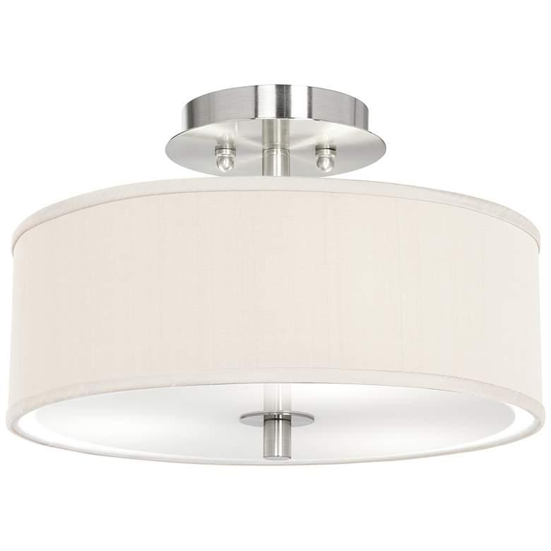 "Cream Textured Faux Silk 14"" Wide Ceiling Light"