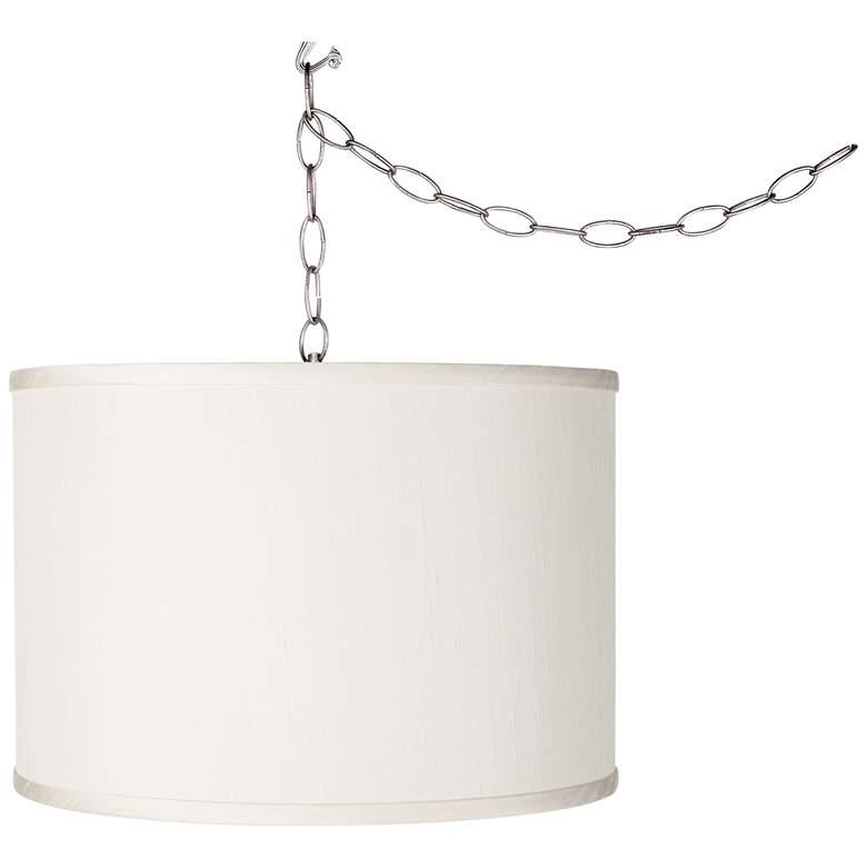 Swag Style Cream Faux Silk Shade Plug-In Chandelier