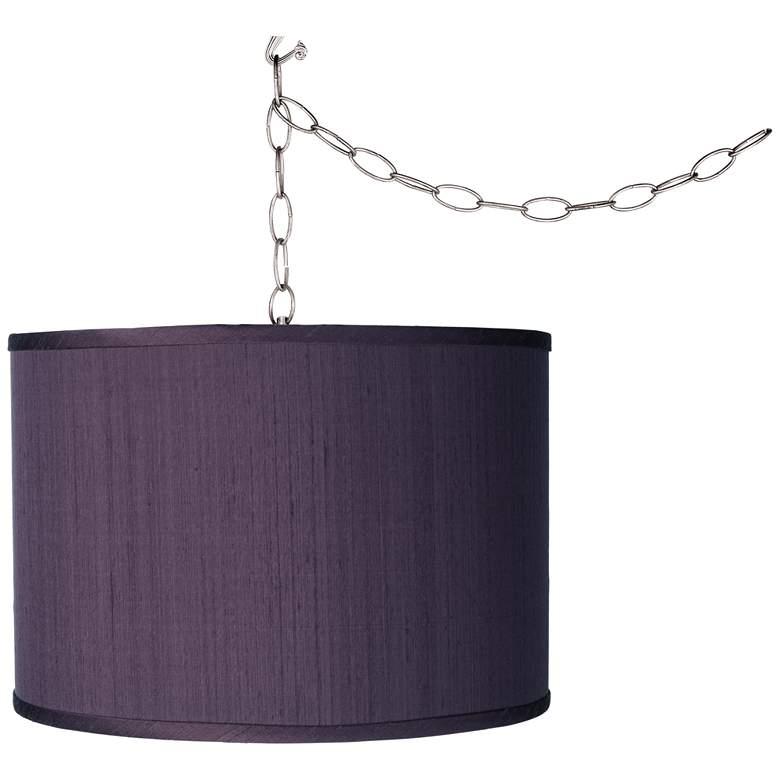 "Eggplant Purple Shade 13 1/2"" Wide Plug-In Swag Pendant Chandelier"