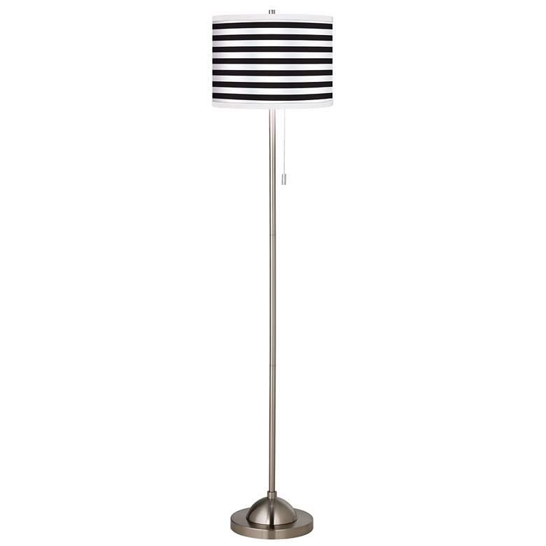 Giclee Black and White Horizontal Stripe Floor Lamp