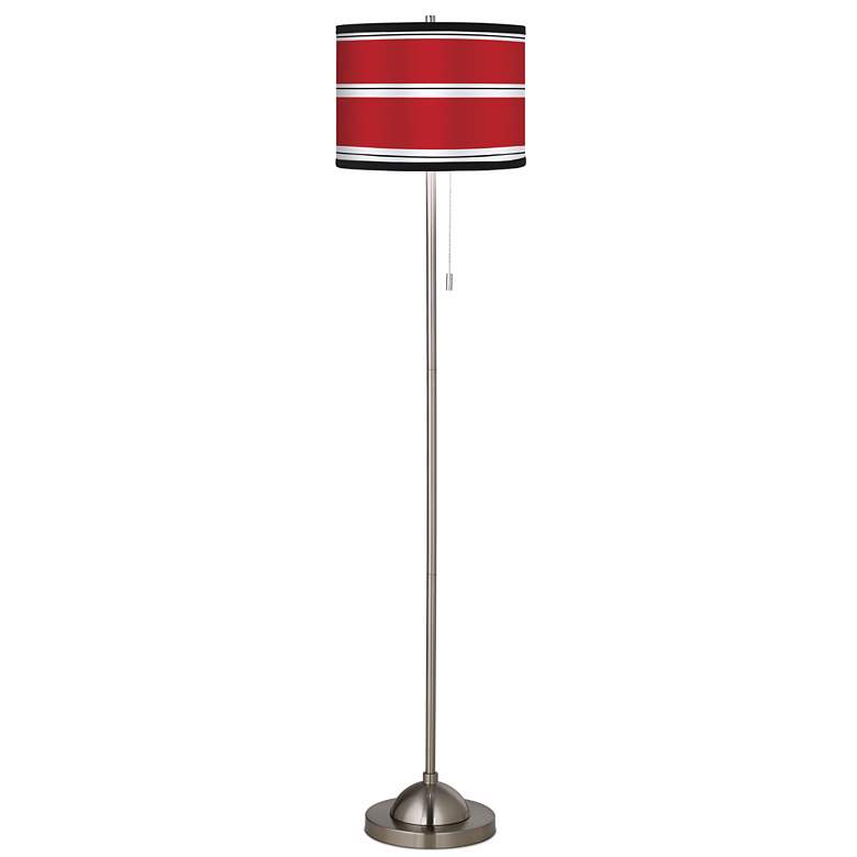 Giclee Red Stripes Pattern Shade Floor Lamp