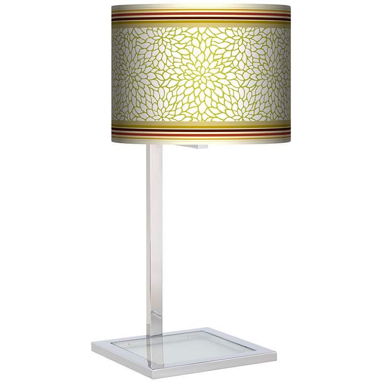 Stacy Garcia Lemongrass Dahlia Glass Inset Giclee Table Lamp