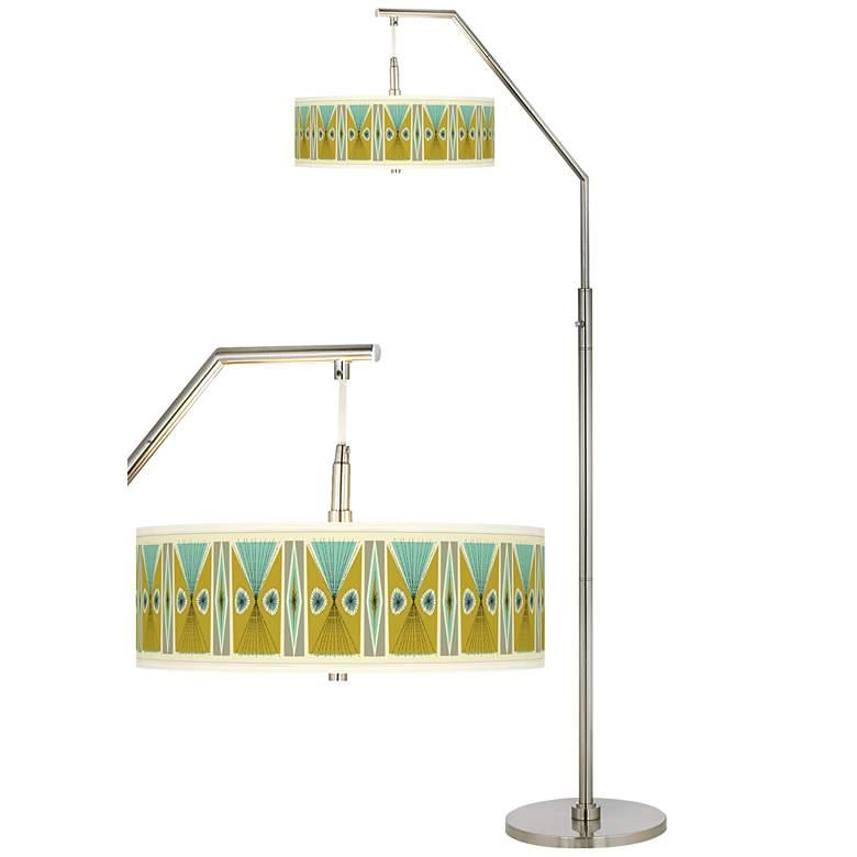 Vernaculis III Giclee Shade Arc Floor Lamp