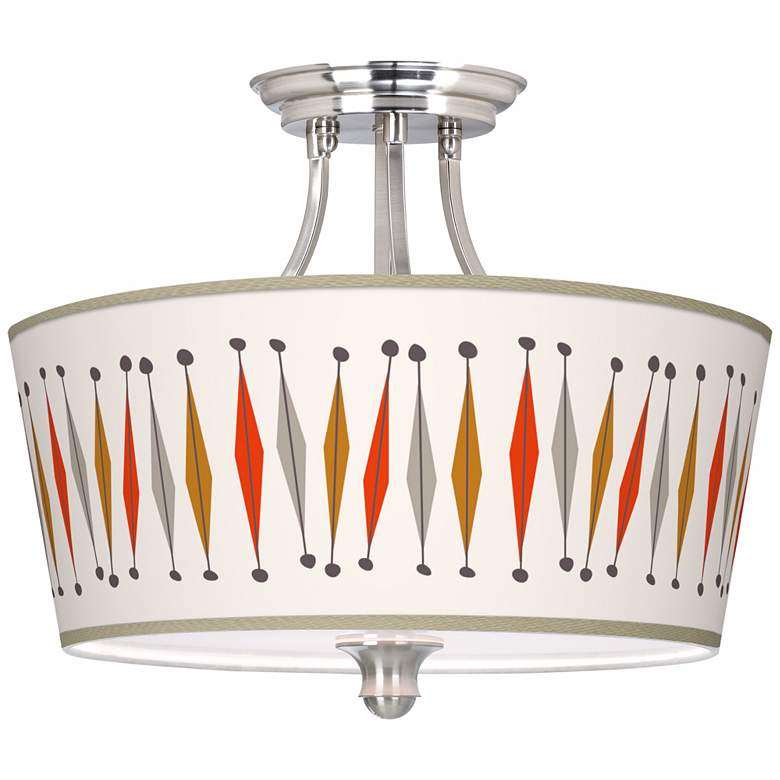 """Tremble Giclee 18"""" Wide Brushed Nickel Ceiling Light"""