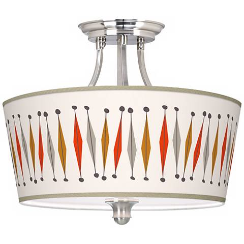 """Tremble Giclee 18"""" Wide Brushed Steel Ceiling Light"""