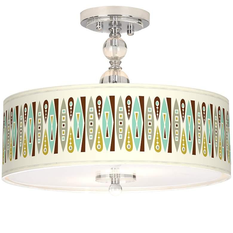 "Vernaculis II Giclee 16"" Wide Semi-Flush Ceiling Light"