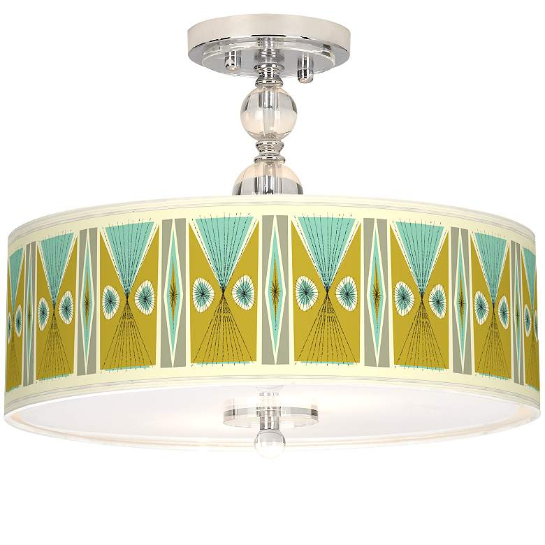 "Vernaculis III Giclee 16"" Wide Semi-Flush Ceiling Light"