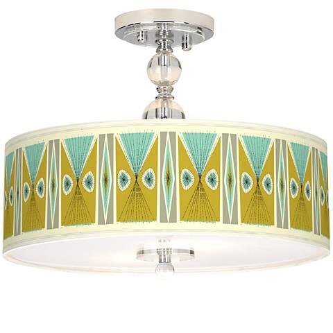 "Vernaculis III Giclee 16"" Wide Semi-Flush Ceiling Light"