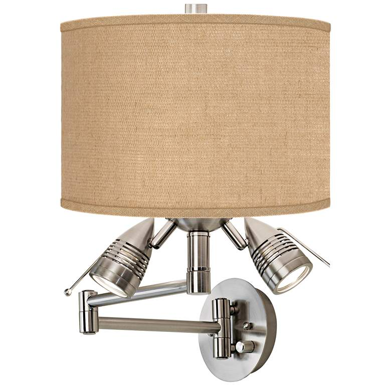 Woven Burlap Brushed Nickel Plug-In Swing Arm Wall Lamp