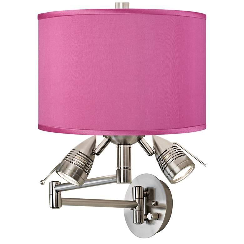 Pink Orchid Faux Silk Nickel Plug-In Swing Arm Wall Lamp