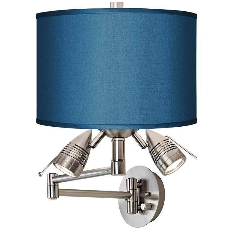 Blue Faux Silk Brushed Nickel Plug-In Swing Arm Wall Lamp