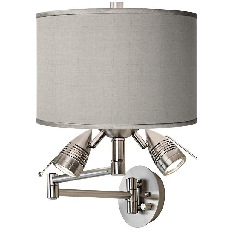 Gray Faux Silk Brushed Nickel Plug-In Swing Arm Wall Lamp