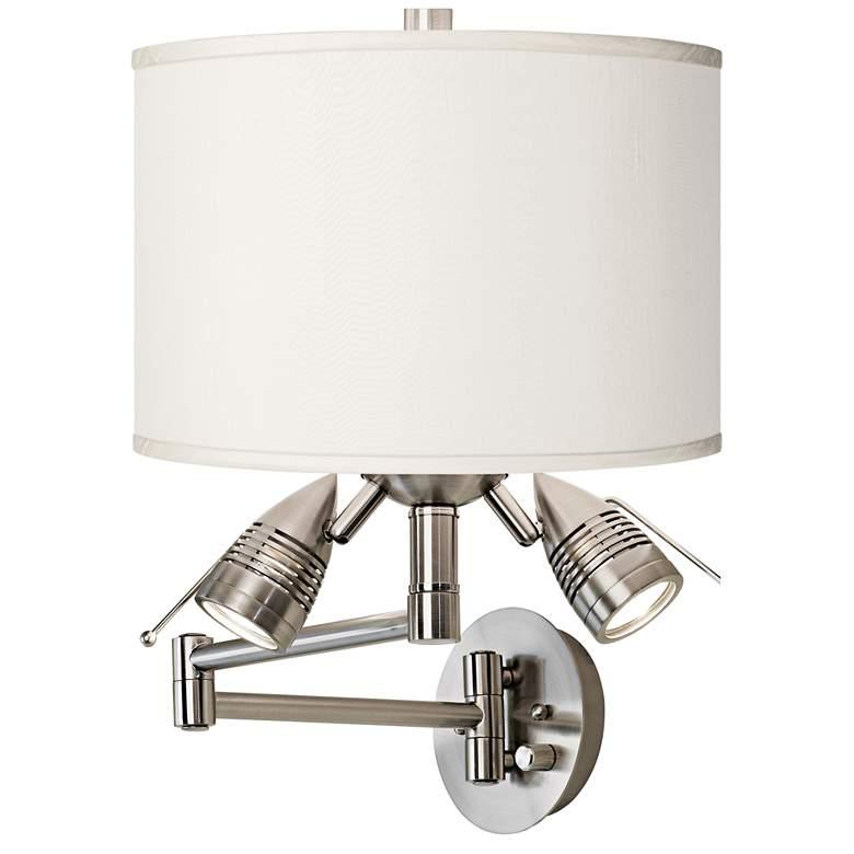 Cream Faux Silk Brushed Nickel Plug-In Swing Arm Wall Lamp