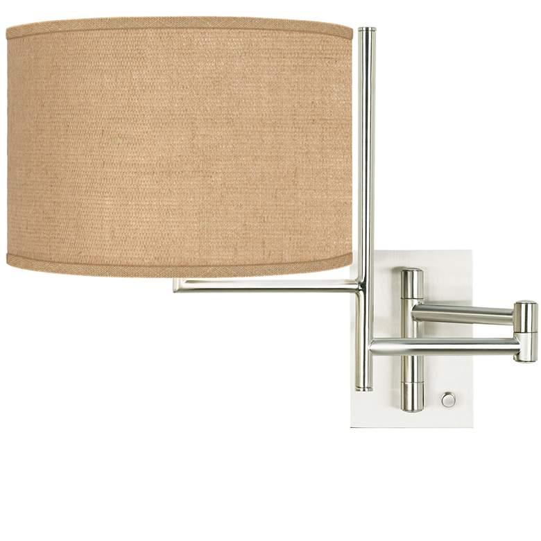 Woven Burlap Brushed Nickel Swing Arm Wall Lamp