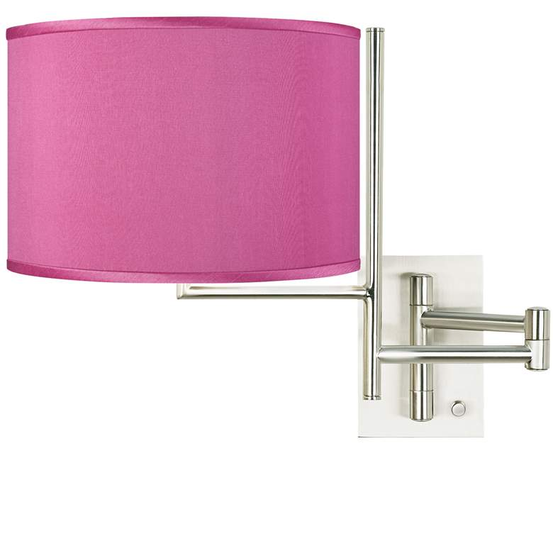 Pink Orchid Faux Silk Brushed Nickel Swing Arm Wall Lamp