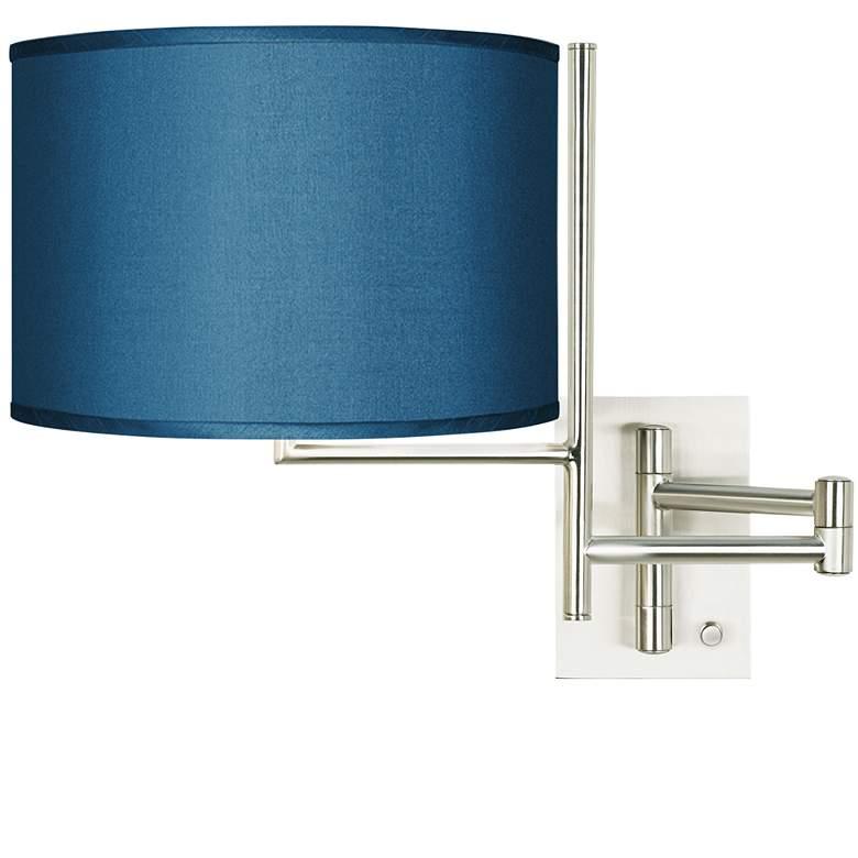 Blue Faux Silk Brushed Nickel Swing Arm Wall Lamp