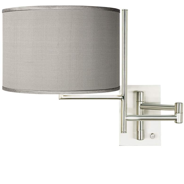 Gray Faux Silk Brushed Steel Plug-In Swing Arm Wall Lamp