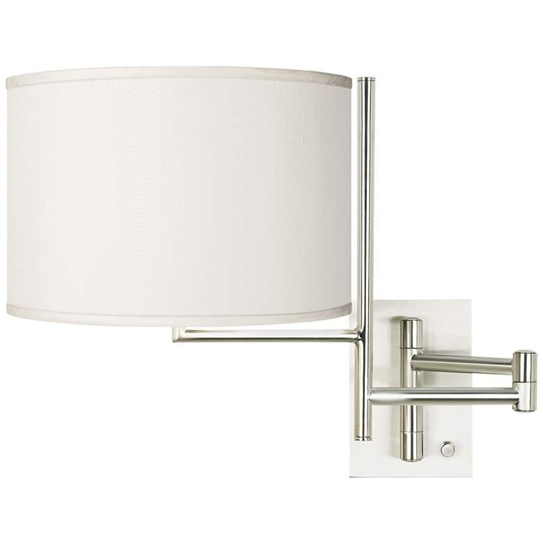 Cream Faux Silk Brushed Nickel Swing Arm Wall Lamp