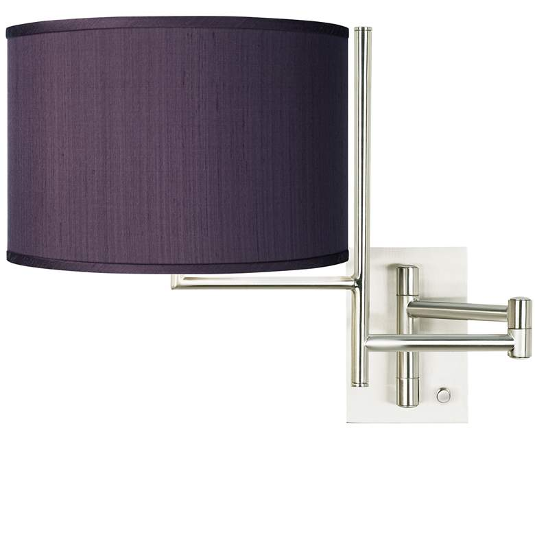 Eggplant Faux Silk Brushed Nickel Swing Arm Wall Lamp