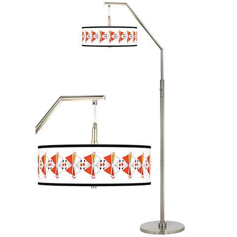 Lexiconic III Giclee Shade Arc Floor Lamp