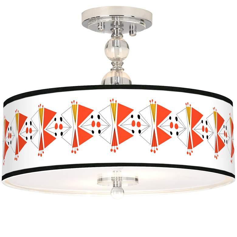 "Lexiconic III Giclee 16"" Wide Semi-Flush Ceiling Light"