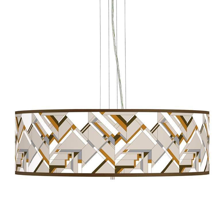 "Craftsman Mosaic Giclee 24"" Wide 4-Light Pendant Chandelier"