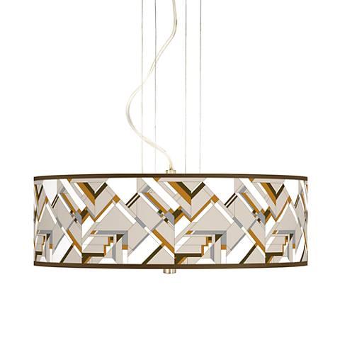 "Craftsman Mosaic 20"" Wide 3-Light Pendant Chandelier"