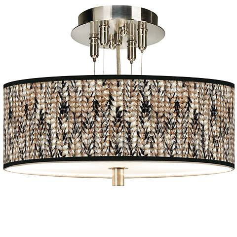 "Braided Jute Giclee 14"" Wide Ceiling Light"