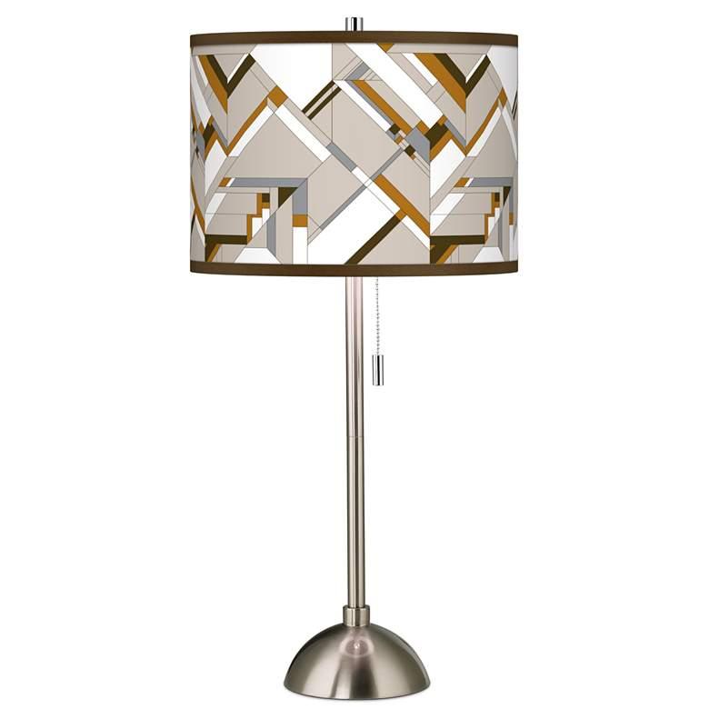 Craftsman Mosaic Giclee Brushed Nickel Table Lamp