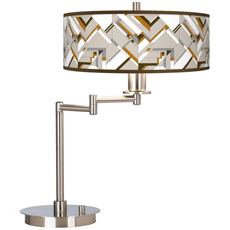 Craftsman Mosaic Giclee CFL Swing Arm Desk Lamp