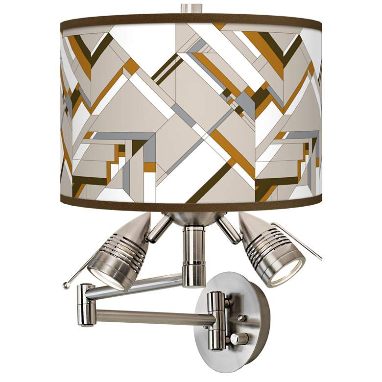 Craftsman Mosaic Giclee Plug-In Swing Arm Wall Lamp